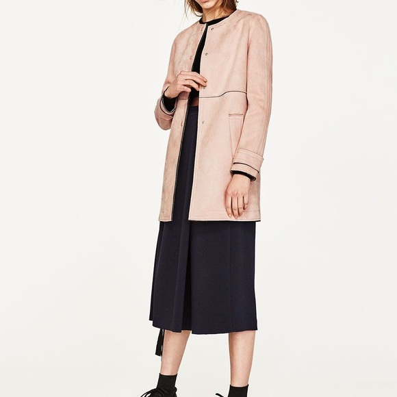 Zara Faux Suede Parka Long Parka Jacket Hooded Nwt Missing Two